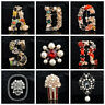 Luxury Pearl Crystal Letter Brooch Pin Colorful Women Wedding Bride Jewelry -