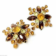JUDY LEE Yellow/Amber/Topaz Rhinestone Earrings