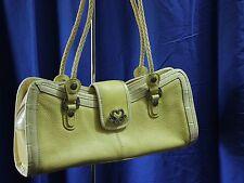 M.C. Marc Chantal Pebbeled Leather Shoulder Bag Yellow Embossed Faux Crocodile