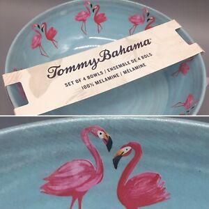 """x4 Tommy Bahama Pink Flamingo Duo Melamine Bowl Set Coastal Tropical Blue 8"""""""