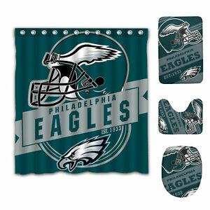 Philadelphia Eagles Bathroom Rugs Shower Curtains 4PCS Bath Mat Toilet Lid Cover