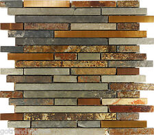 Sample Rustic Copper Linear Natural Slate Blend Mosaic Tile Kitchen Backsplash