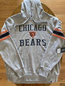NWT Chicago Bears 47 Brand Fleece Hoodie Legacy Double Block Sleeve Stripe XL