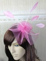 pink feather netting hair headband fascinator millinery wedding hat race ascot