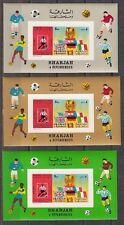 Sharjah, Mi cat. 653, Bl A65 B. World Cup Soccer, 3 Imperf s/sheets.