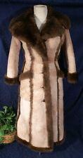 Vintage ARDNEY Beige & Brown Lamb Suede Shearling Coat Sz  7/8