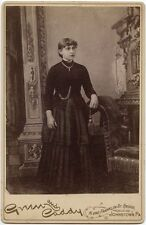 Young Lady In Beautiful Dress By Green + Caddy, Johnstown, Pa, Cabinet Card