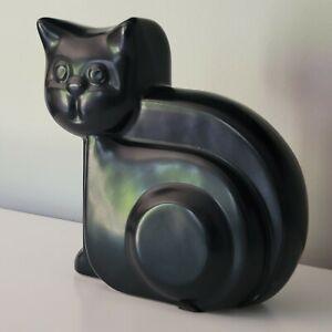 Vintage Harris Potteries Chicago Black Cat Sculpture Art Deco Mid Century Modern