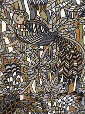 "VTG MCM Black & Brown Mod ABSTRACT BIRDS Fabric Cotton STAINED GLASS 54"" x 102"""