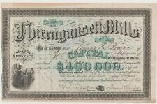 1872 Narragansett Mills Stock Certificate Fall River Massachusetts