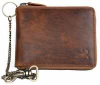 Men's biker's natural strong genuine leather zipper wallet with scorpion