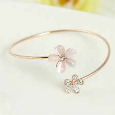 Women Daisy Flower Crystal Bangle Gold Plated Cuff Bracelet Bangle Jewelry Gift