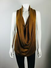 NWT $298 MAGGIE WARD Brown Size Large Cowl Neck Sleeveless Sweater
