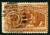 UNITED STATES SCOTT#239 30c COLUMBIAN USED  --SCOTT VALUE $100.00