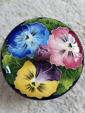 Blue Sky J McCall Icing on the Cake Pansies Footed Candy Dish w/ Lid Floral 2004