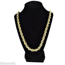 "36"" Inch Rope Chain 10 mm Gold Finish Twisted Long Dookie Men's Hip Hop Necklace"