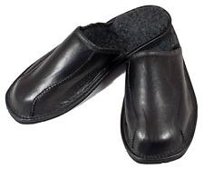 Elegante Herren Winter KALBSLEDER Hausschuhe Pantoffeln Schafwolle 40 - 47 NEU