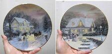 Edwin M.Knowles China Co–Home for the Holidays ByThomas Kinkade Nib Ltd 2 Plates