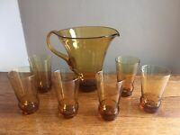 Mid Century Modern Hand Blown Amber Glass Pitcher & Set of 6 Tumblers; Italy