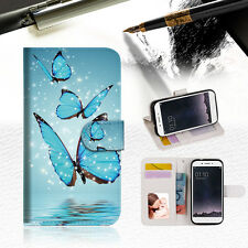 Cyan Butterfly Wallet TPU Case Cover For OPPO F1S-- A019