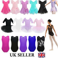 UK Girls Gymnastics Leotard Dress Ballet Dance Tutu Skirt Kids Dancewear Costume