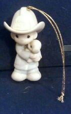 Precious Moments Fireman Figurine Ornament Love Rescued Me Fire Dept Puppy 1986