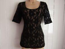 Next Black Lace Tie Back Short Sleeved Scoop Neck & Back Top - Size 12