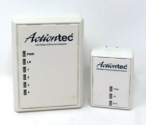 Actiontec PWR504 4-Port Ethernet Powerline Network Adapter Kit 500mbps PWR500