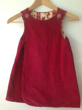 Vintage Girls dark pink corduroy UNIQUE reversible dress jumper handmade sz med