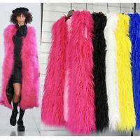 Damenmode Frauen Faux Fuchspelz Lang Weste Jacke Mantel Winter Warm Outwear Xxl