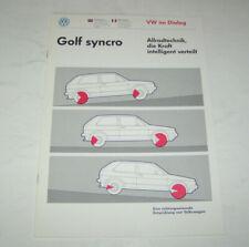 Technische Info VW Golf II syncro - VW Allradtechik - Stand 1989 !