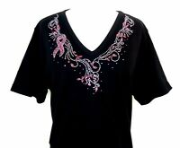 SMALL Hand Embellished Iridescent Rhinestone Pink Breast Cancer Awareness Top
