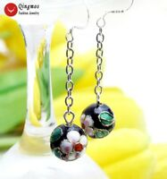 "Trendy Cloisonne Women Earrings with 12mm Round Black Cloisonne 2"" Earrings-e699"