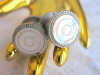 CARVED MOTHER OF PEARL CENTER ART DECO 1920'S SNAP LINK BRAND ROUND CUFFLINKS