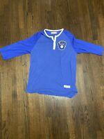 vtg Milwaukee Brewers Mitchell & Ness 3/4 Sleeve Baseball Henley Shirt 2XL