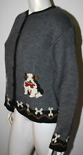 TALLY HO Gray Black Red LS DOG Bone Cardigan Sweater L Jack Russell