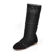 Damen Spitze Gestrickte Schuhe Boots Sommerstiefel Flach Stiefeletten Gr.35-41