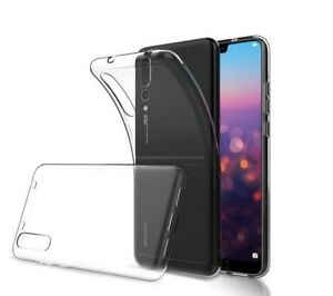 Clear Slim TPU Gel Case Cover and Glass Screen Protector for Huawei Mobiles