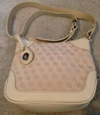 NWT Dooney & Bourke Signature Leather Canvas Ivory/ Bone Zip Shoulder Bag 40%OFF