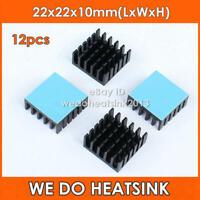 12pcs 22x22x10mm Aluminum Heat Sink With Blue Thermal Adhesive Heat Transfer Pad