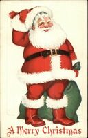 Christmas - Jolly Santa Claus & Green Sack C46 c1920 Postcard