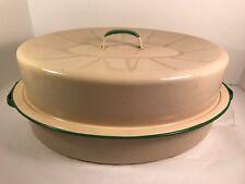 LARGE! Vintage Enamelware Green & Cream Roasting Pot With Lid & Handles