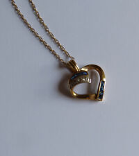 Sapphire and diamond 9ct gold heart and chain necklace