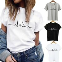 Womens Summer Short Sleeve T-Shirt Top Blouse Heart Printed Casual Tee Fashion