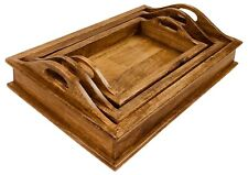 Wooden Serving Tray Set of 3 Wood Platters Dining Bar Trays Small Medium Large