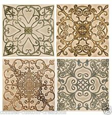 "Scroll Set Design Kitchen Backsplash Ceramic Decorative Accent Tiles 6"" New"