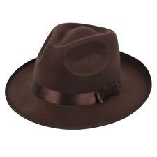 Unisex Men Women Hats Caps Panama Fedora Trilby Straight Wide Brim Hard Fel X1F5