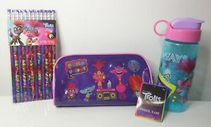 Dreamworks Trolls School Stationery Set Pencil Case Water Bottle & 12 Pencils