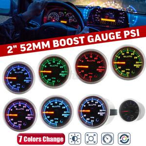 2'' 52mm 7 Color LED Car -30~30 PSI Turbo Boost Pressure Pointer Gauge Meter 12V