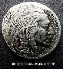 HOBO NICKEL #HN1250 BY PAUL BISHOP I'M LISTING 7 NEW HOBO'S IN THE AUCTION A